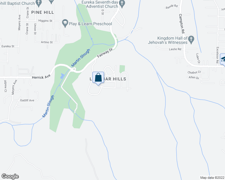 map of restaurants, bars, coffee shops, grocery stores, and more near 4980 Lundblade Drive in Eureka