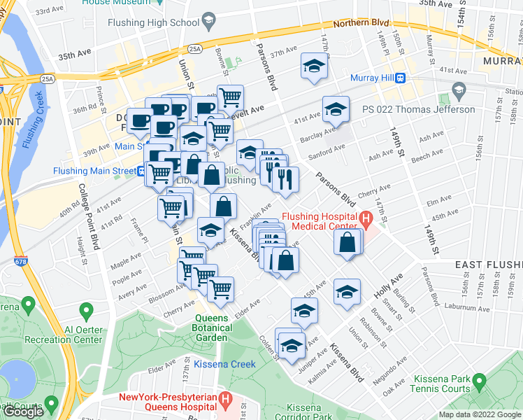map of restaurants, bars, coffee shops, grocery stores, and more near 14227 Franklin Avenue in Queens