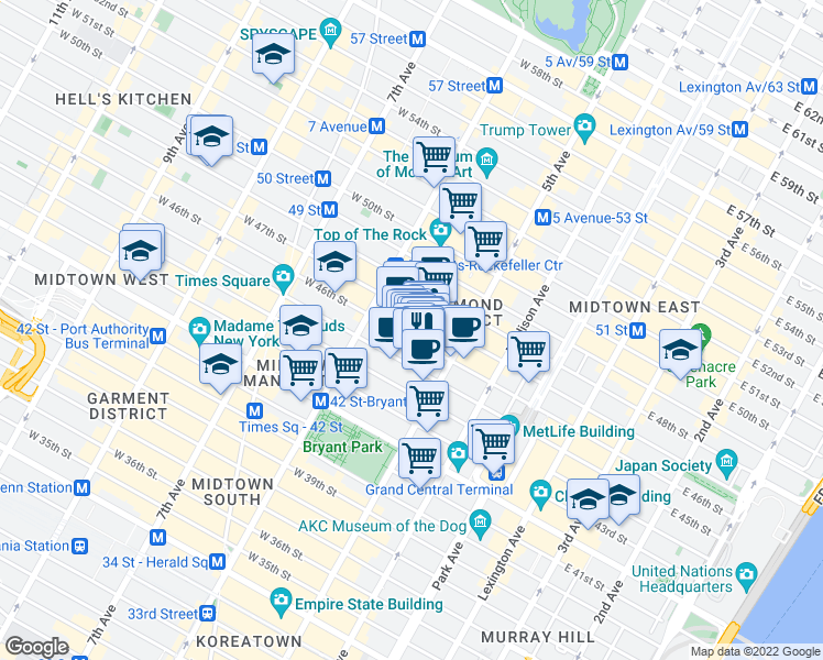 map of restaurants, bars, coffee shops, grocery stores, and more near 15 West 46th Street in New York