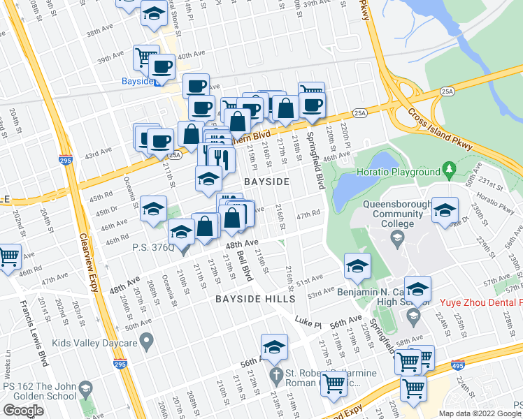 map of restaurants, bars, coffee shops, grocery stores, and more near in Queens