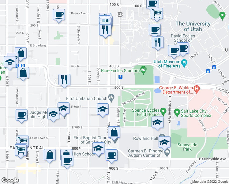 map of restaurants, bars, coffee shops, grocery stores, and more near 1320 East 500 South in Salt Lake City