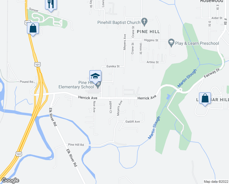 map of restaurants, bars, coffee shops, grocery stores, and more near 5246 Leppek Court in Eureka