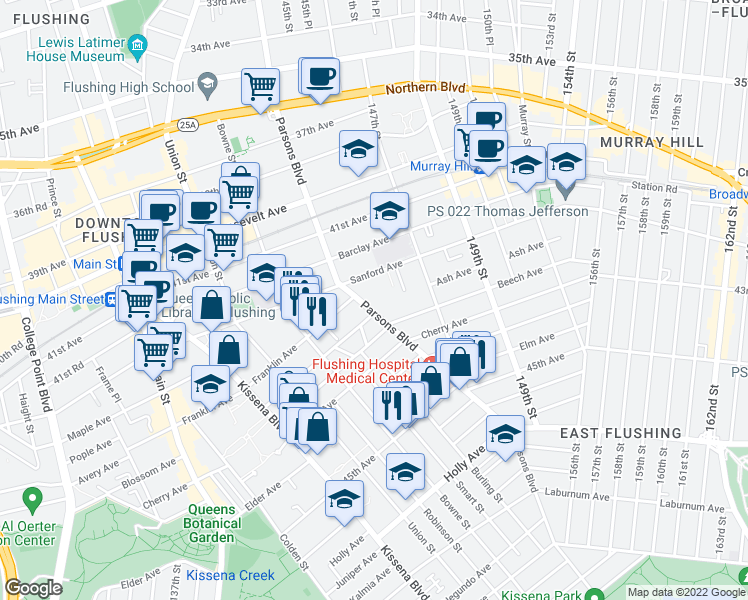 map of restaurants, bars, coffee shops, grocery stores, and more near 143-73 Ash Avenue in Queens