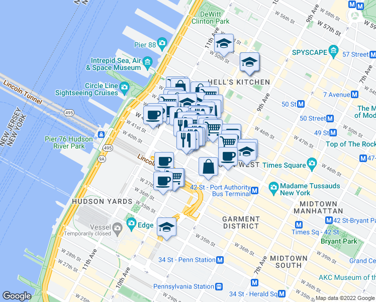 map of restaurants, bars, coffee shops, grocery stores, and more near 501 West 41st Street in New York
