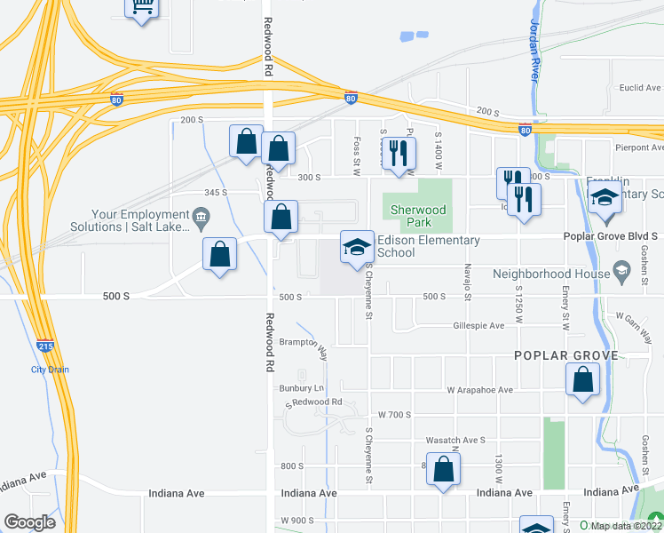 map of restaurants, bars, coffee shops, grocery stores, and more near 1601 West 400 South in Salt Lake City