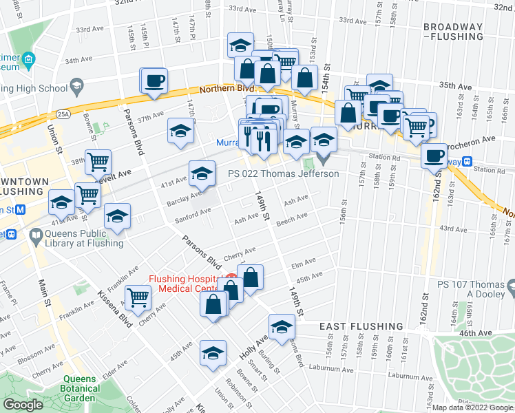 map of restaurants, bars, coffee shops, grocery stores, and more near 154-53 Ash Avenue in Queens