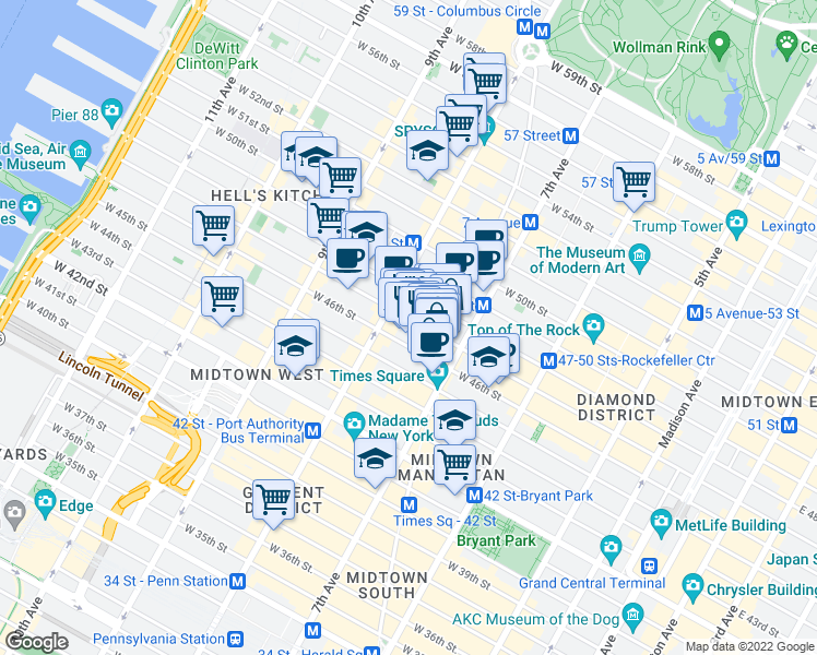 map of restaurants, bars, coffee shops, grocery stores, and more near 226 West 47th Street in New York