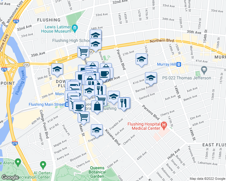 map of restaurants, bars, coffee shops, grocery stores, and more near 41st Avenue & Bowne Street in Queens