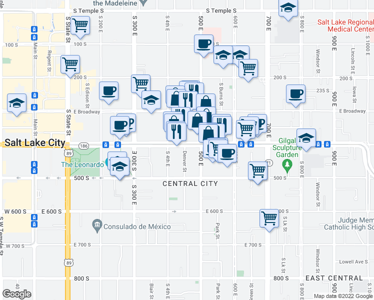 map of restaurants, bars, coffee shops, grocery stores, and more near 460 East 400 South in Salt Lake City