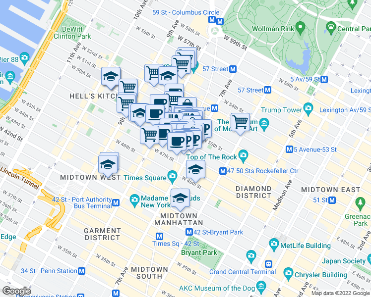 map of restaurants, bars, coffee shops, grocery stores, and more near 1623 Broadway in New York