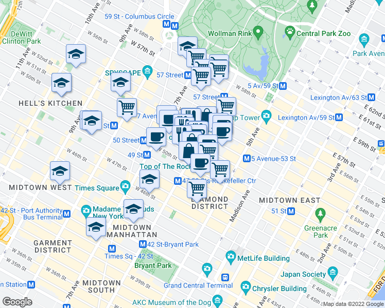 map of restaurants, bars, coffee shops, grocery stores, and more near 1290 6th Avenue in New York