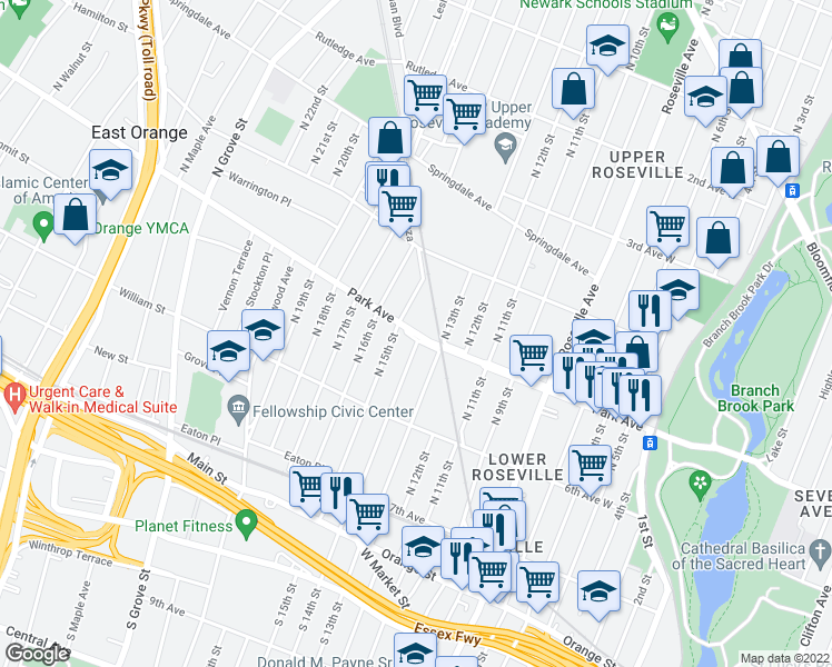 map of restaurants, bars, coffee shops, grocery stores, and more near 73 Park Ave in East Orange