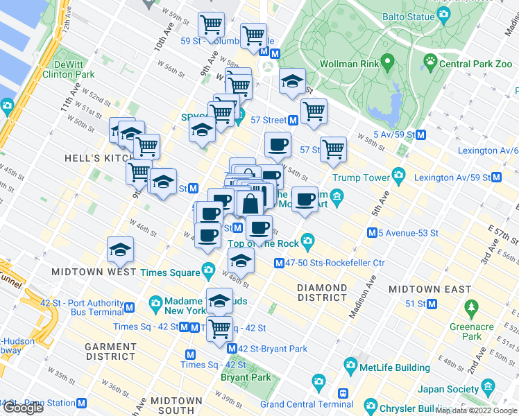 map of restaurants, bars, coffee shops, grocery stores, and more near 150 West 51st Street in New York