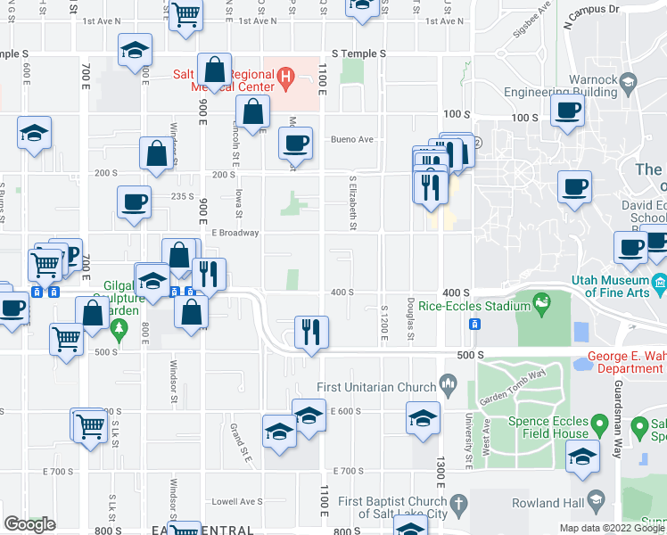 map of restaurants, bars, coffee shops, grocery stores, and more near 14 1100 East in Salt Lake City