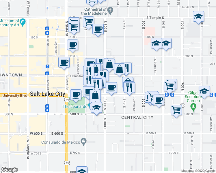 map of restaurants, bars, coffee shops, grocery stores, and more near 347 300 East in Salt Lake City