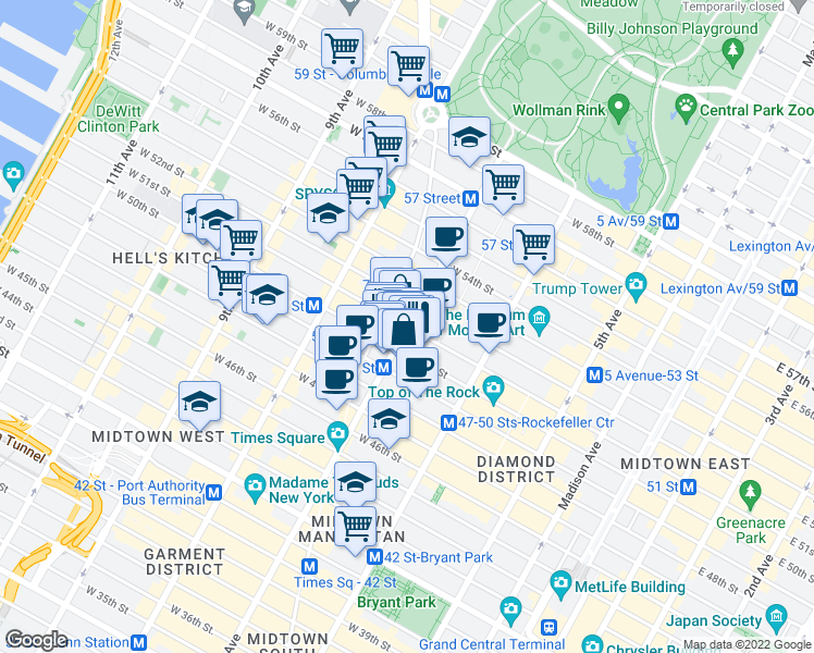 map of restaurants, bars, coffee shops, grocery stores, and more near 135 West 50th Street in New York