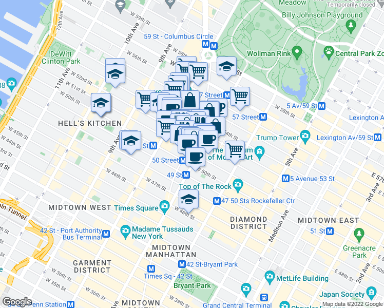 map of restaurants, bars, coffee shops, grocery stores, and more near 1650 Broadway in New York