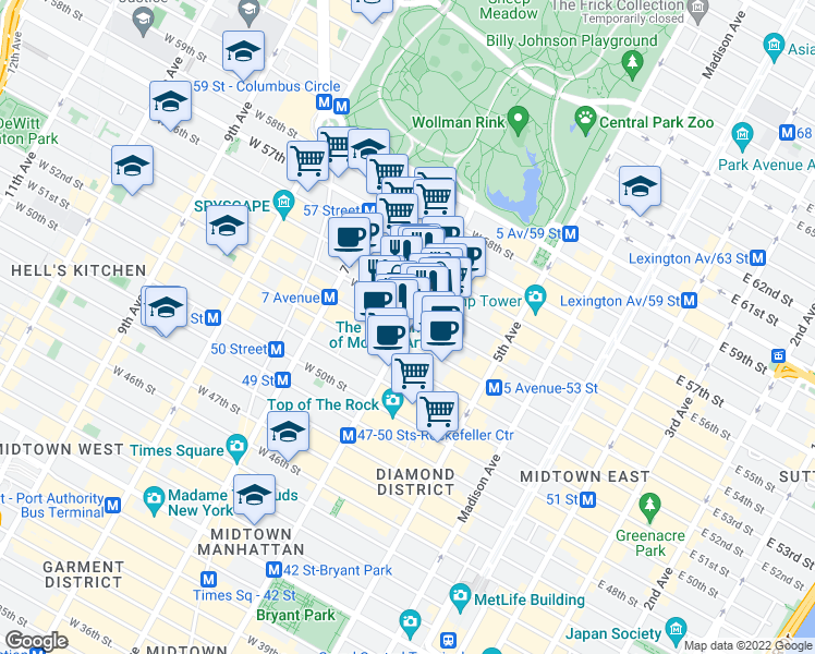 map of restaurants, bars, coffee shops, grocery stores, and more near 1340-1358 6th Avenue in New York