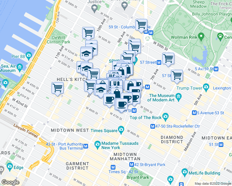 map of restaurants, bars, coffee shops, grocery stores, and more near 305 West 50th Street in New York
