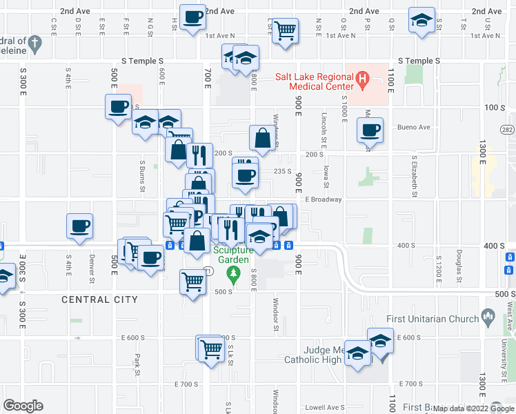 map of restaurants, bars, coffee shops, grocery stores, and more near 804 East 300 South in Salt Lake City