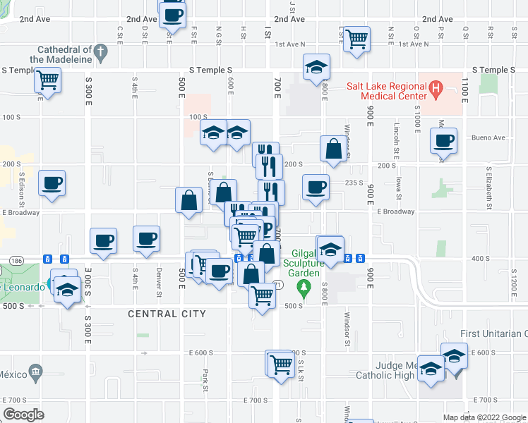 map of restaurants, bars, coffee shops, grocery stores, and more near East 300 South in Salt Lake City
