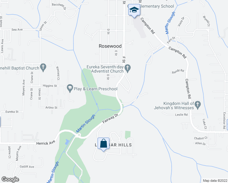map of restaurants, bars, coffee shops, grocery stores, and more near 4336 Fairway Drive in Eureka