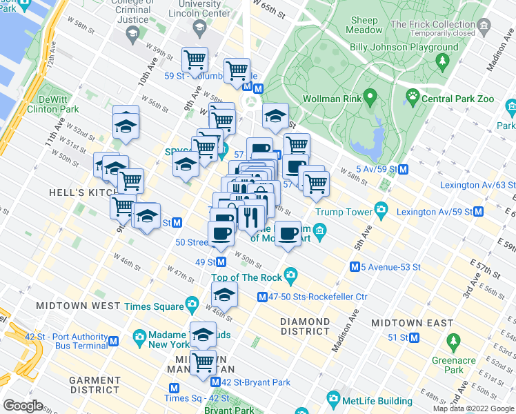 map of restaurants, bars, coffee shops, grocery stores, and more near 135 West 52nd Street in New York