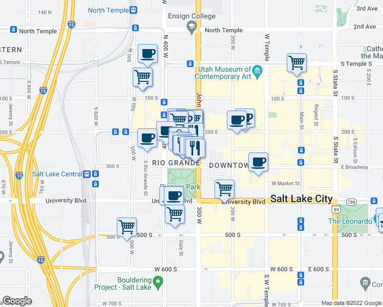 map of restaurants, bars, coffee shops, grocery stores, and more near 315 Pierpont Avenue in Salt Lake City