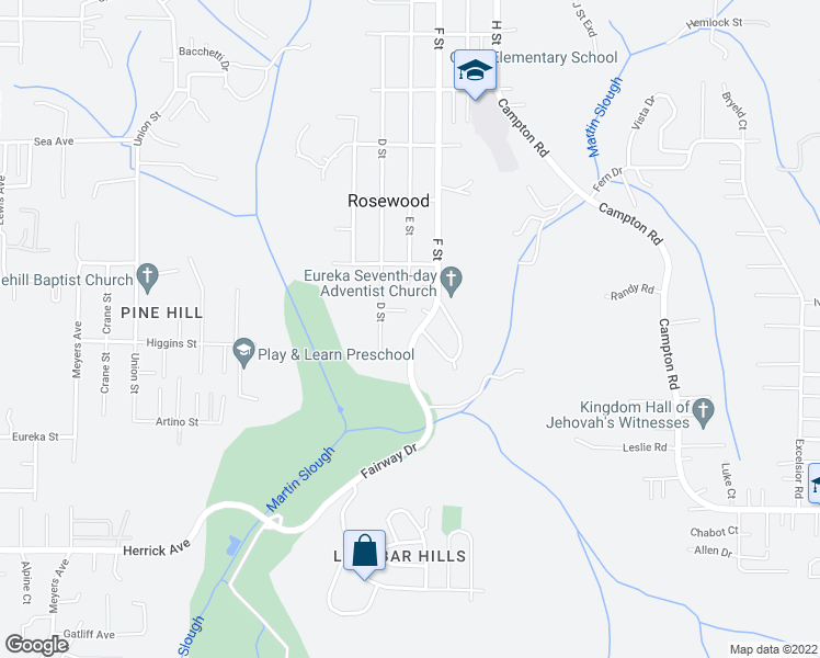 map of restaurants, bars, coffee shops, grocery stores, and more near 4306 Fairway Drive in Eureka