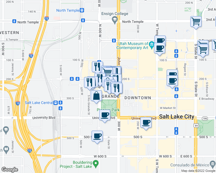 map of restaurants, bars, coffee shops, grocery stores, and more near 346 West Pierpont Avenue in Salt Lake City