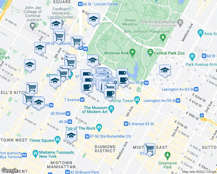map of restaurants, bars, coffee shops, grocery stores, and more near 108 West 57th Street in New York
