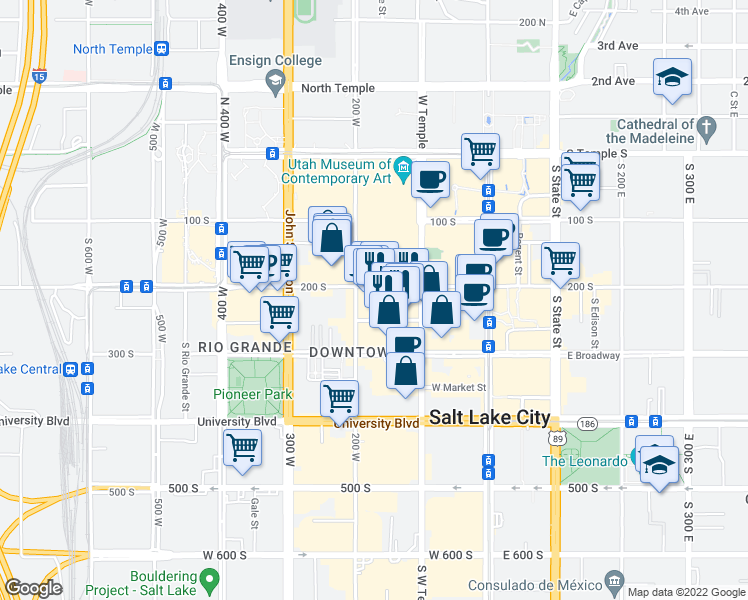 map of restaurants, bars, coffee shops, grocery stores, and more near 163 West 200 South in Salt Lake City