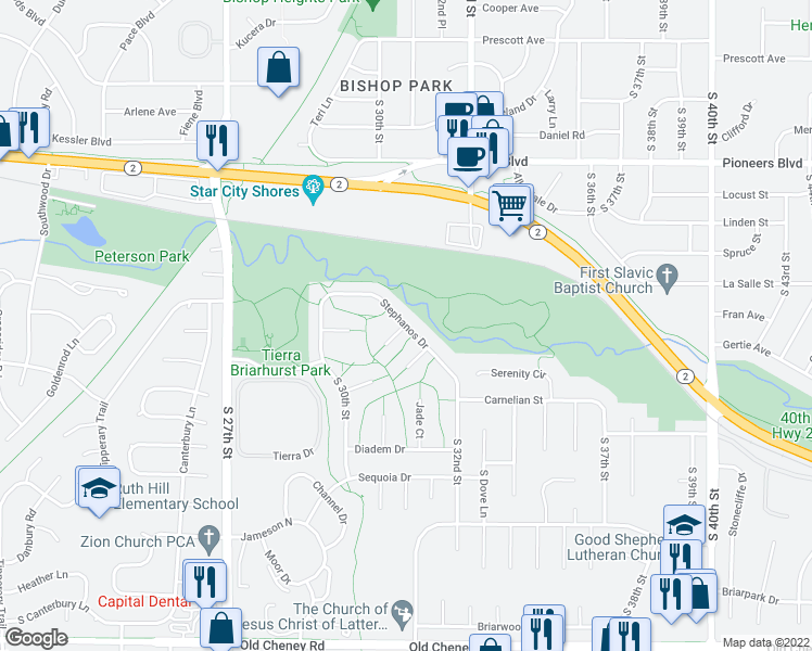 map of restaurants, bars, coffee shops, grocery stores, and more near Stephanos Drive in Lincoln