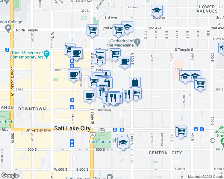 map of restaurants, bars, coffee shops, grocery stores, and more near 201 East 200 South in Salt Lake City