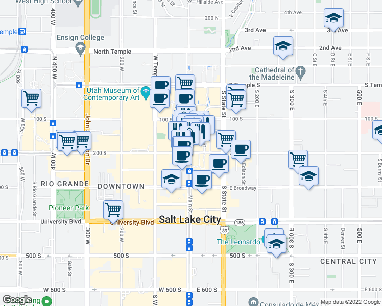 map of restaurants, bars, coffee shops, grocery stores, and more near 8 East 200 South in Salt Lake City