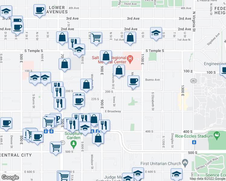 map of restaurants, bars, coffee shops, grocery stores, and more near East 200 South & Lincoln Street in Salt Lake City
