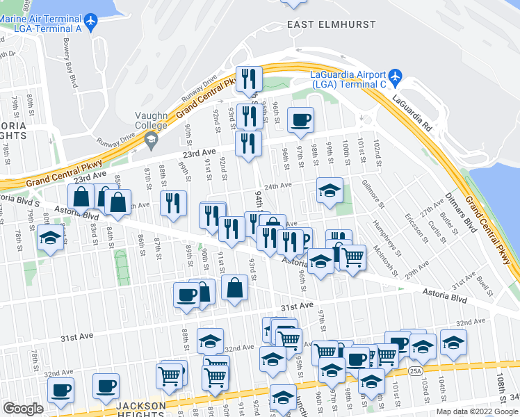 map of restaurants, bars, coffee shops, grocery stores, and more near 94th Street in Queens