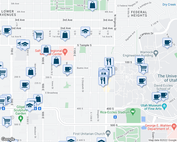 map of restaurants, bars, coffee shops, grocery stores, and more near 156 South 1200 East in Salt Lake City