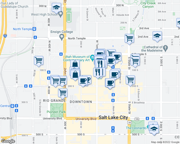 map of restaurants, bars, coffee shops, grocery stores, and more near 100 South West Temple in Salt Lake City