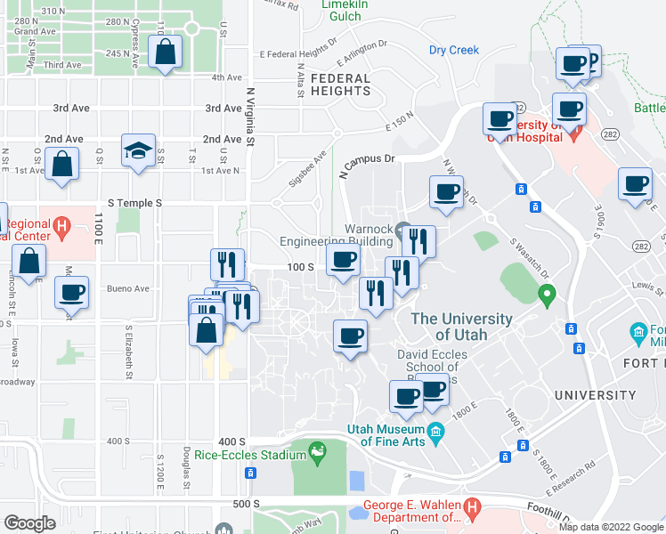 map of restaurants, bars, coffee shops, grocery stores, and more near 1502 East 100 South in Salt Lake City