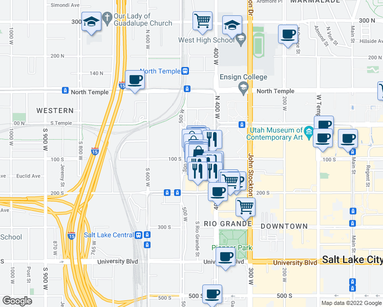 map of restaurants, bars, coffee shops, grocery stores, and more near 469-483 West 100 South in Salt Lake City