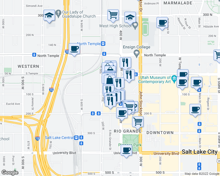 map of restaurants, bars, coffee shops, grocery stores, and more near 64 South Rio Grande Street in Salt Lake City