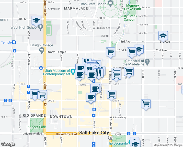 map of restaurants, bars, coffee shops, grocery stores, and more near 170 Main Street in Salt Lake City
