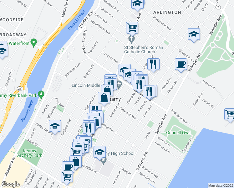 map of restaurants, bars, coffee shops, grocery stores, and more near 82 Beech Street in Kearny