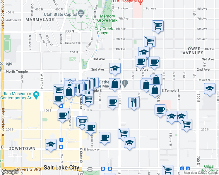 map of restaurants, bars, coffee shops, grocery stores, and more near 239 East South Temple in Salt Lake City