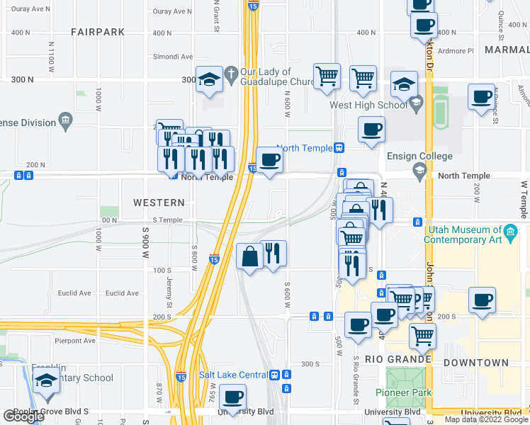 map of restaurants, bars, coffee shops, grocery stores, and more near 650 West South Temple in Salt Lake City