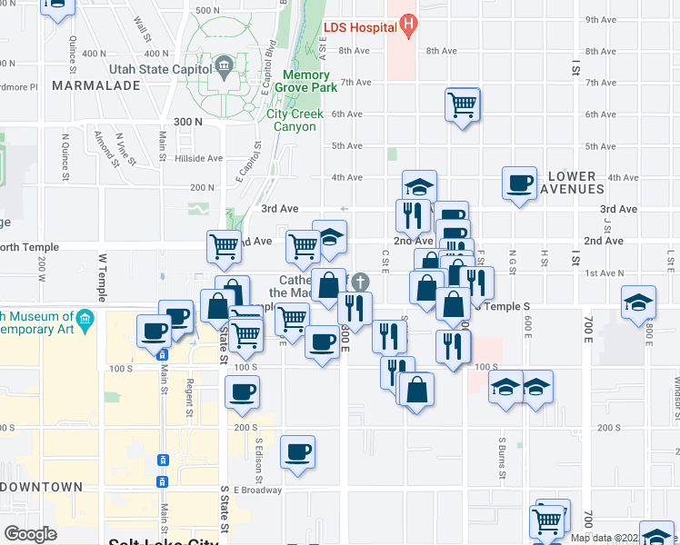map of restaurants, bars, coffee shops, grocery stores, and more near 2-48 B Street East in Salt Lake City