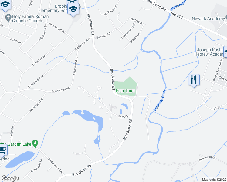 map of restaurants, bars, coffee shops, grocery stores, and more near Brooklake Road in Florham Park