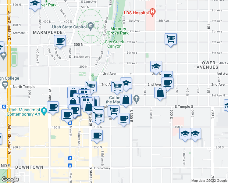 map of restaurants, bars, coffee shops, grocery stores, and more near 155 East 1st Avenue in Salt Lake City
