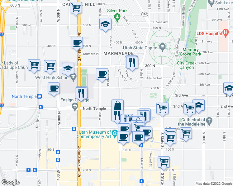 map of restaurants, bars, coffee shops, grocery stores, and more near 185 North West Temple in Salt Lake City